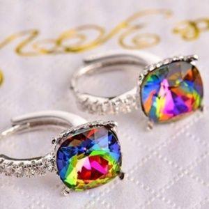 Magic Crystal Square Prism Cube Stud Earrings